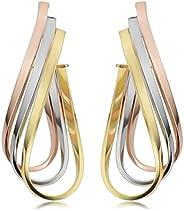 Kooljewelry 14k Tricolor Gold Triple Twisted Oval Hoop Earrings (1.5 inch long)