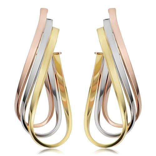 Kooljewelry 14k Tricolor Gold Triple Twisted Oval Hoop Earrings (1.5 inch long) ()