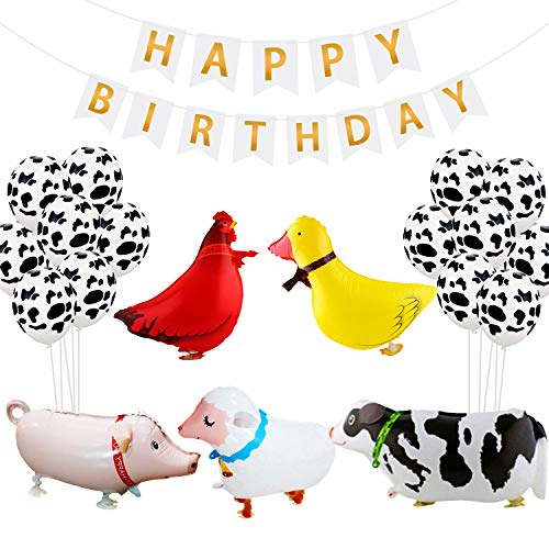 Joymee Barnyard Party Farm Party Decorations Supplies Pack-White and Gold Happy Birthday Banner,Cow Print Latex Balloons,Walking Animal Balloons(Duck,Rooster,Cow,Pig,Sheep)