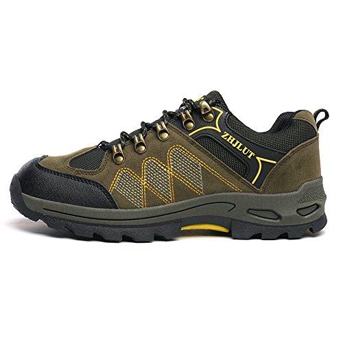 JEDVOO Zapatillas de Senderismo ,Zapatos de Deporte y Aire Libre Para Unisex Verde del ejército Amarillo