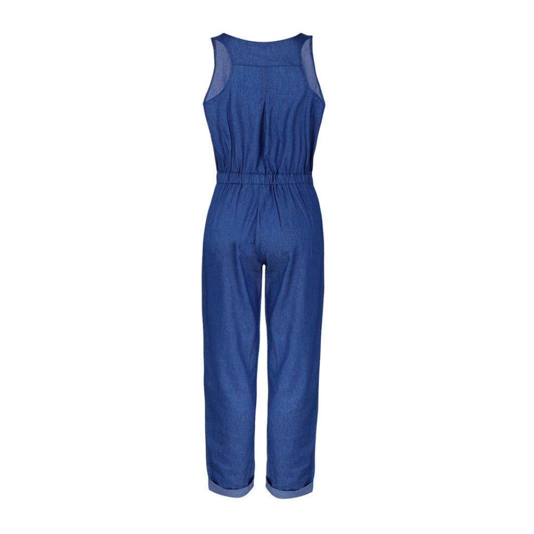 6656116df415 Amazon.com  vermers Womens Denim Jumpsuits Summer Holiday Jeans Playsuit  Elastic Waist Strappy Long Beach Rompers  Clothing
