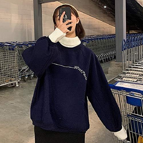 HOVYGB Hohes Kragen Sweatshirt Weibliches Vintages Buchstabe Zufälliges Weibliches Sweatshirt Schwarz