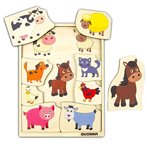 (Quokka Toddler Puzzle, Wild Animals, Farm Animals and Pets, Matching Activities, Wooden Puzzle, Logical, Early Learning, Made in Europe)