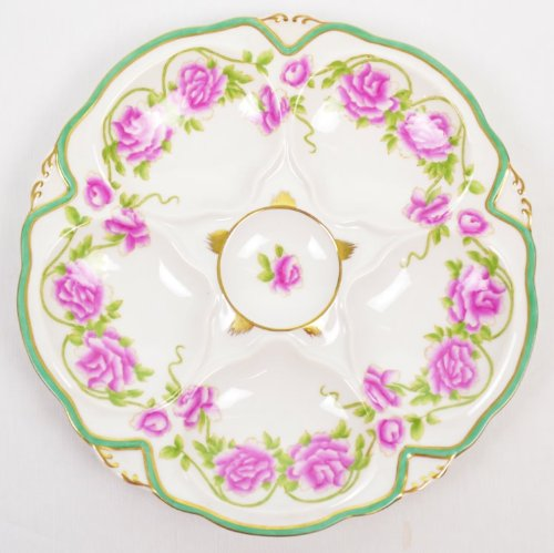 Pink Roses with Leaves Porcelain Oyster Plate with Teal Green Band and Gold