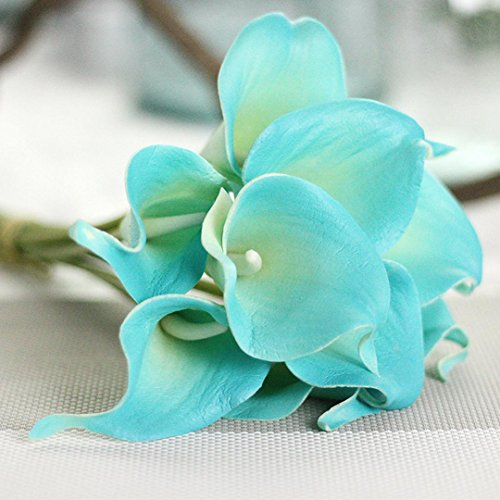 (Inverlee 5Pcs Artificial Flowers Rose Floral Fake Flowers Wedding Bridal Bouquet DIY Home Garden Decor (E))