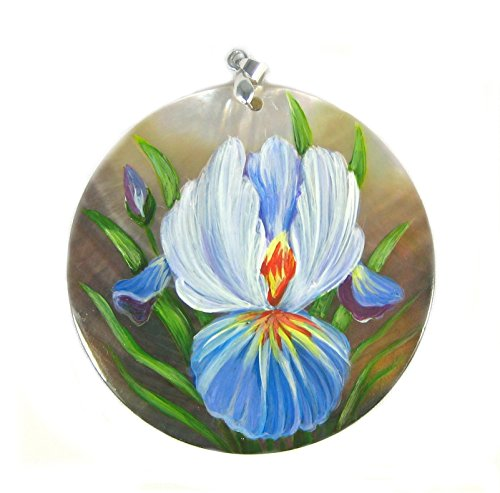 Abalone Iris (Yuan's Hand Painted 2.36'' (60mm) Purple Iris Flower Black Abalone Pendant Necklace)