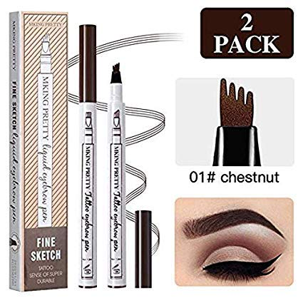 Eyebrow Tattoo Pen Microblading Eyebrow Pencil with a Micro-Fork Tip Applicator Creates Natural Looking Brows Effortlessly and Stays on All Day(2pc/set,Reddish Brown) (Black) by Half Mu Square Pond
