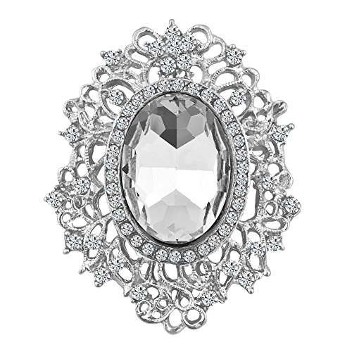 CharmsStory Vintage Fancy Circle White Synthetic Crystal Brooches and Pins For (Pin Circle Vintage)