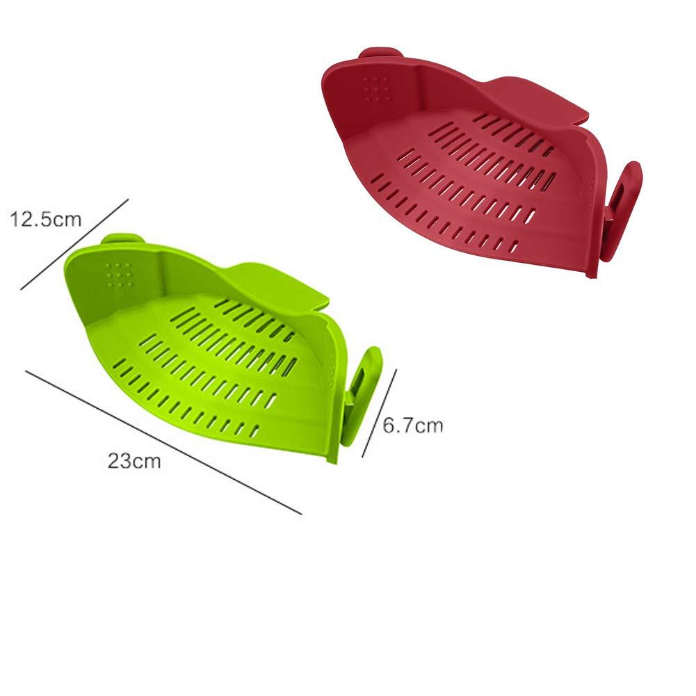 JERLa cepa Vegetal colador Clip en Silicona Escurridor Escurridor Pasta de  Fideos Adapta a Todas Las 7b58da94922d