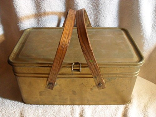 Antique Lunch Box Pail 1930-40's Tin Metal Gold Paint Nice Patina Wood Handles