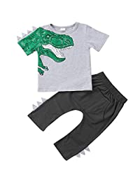 Annvivi Baby Boy Short Sleeve Dinosaur T-Shirt Tops Long Pants Outfit Casual Outfit