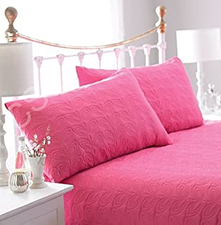 Satin Bedspread Pink Double Bed Quilted Embossed Bedspread ... : pink quilted bedspread - Adamdwight.com