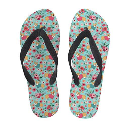 Nopersonality Ladies Girls Summer Beach FLIP Flop Pool Shoes Floral Animal Print Corgi Flower avrNhm