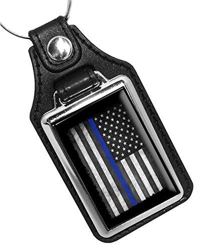 Police Key Chain Thin Blue Line American Flag - Faux Leather Police American Flag Key (Flag Car Keychain)