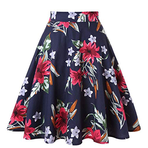Haute midi 50 Red imprim Jupe Skater Taille Vintage d't s Blue Jupes Dames Noire Plus d't Flower Femmes Femme Floral Jupes Pois Taille WnfXqHw8