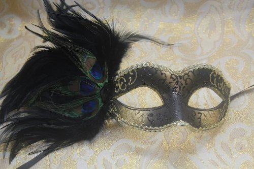 Black & Gold Glitter with Feather Half Mask Venetian Masquerade Party Mask