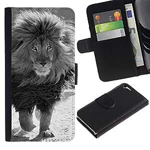 LASTONE PHONE CASE / Lujo Billetera de Cuero Caso del tirón Titular de la tarjeta Flip Carcasa Funda para Apple Iphone 5 / 5S / mane black white male lion powerful