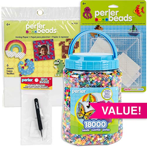 Perler 532 Bundle with Bead Tweezers, Pegboards & Ironing Paper, Multicolor