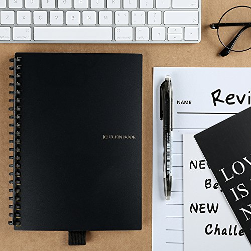 [2018 UPGRADED] Newest Version Elfinbook Everlast Smart Notebook 2.0, Cloud Storage, Evernote Storage, Water-to-Erase, Mind Map, Reusable Notebook, Pilot FriXion pen,100 pages, A5, 5.8 x 8.6-inch by Elfin
