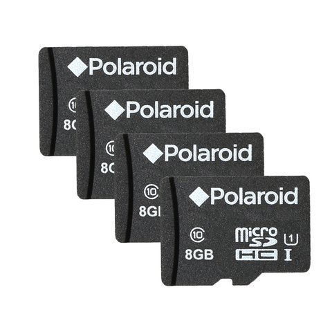 Polaroid 8GB MicroSDHC Class 10 Memory Card for Cameras, Tablet PCs and Smartphones – 4 pack