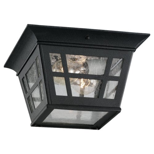 Sea Gull Lighting 78131-12  Herrington Two-Light Outdoor Ceiling Flush Mount Hanging Modern Light Fixture, Black Finish