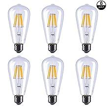 ASELIHGT 8W Dimmable Edison Style ST21(ST64) E26 2700K LED Light Bulbs,Led Filament Bulbs, 80 Watt Incandescent Bulbs Replacement,ST21(ST64) E26 2700K Warm White Bulbs,LED Bulb Lamps,6 Pack