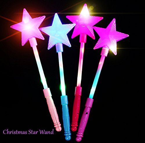 LED Star Wand Toy,Fashionclubs Light Up Flashing Star Fairy Wand Glow Sticks Handhelds Luminous Toy,Christmas Party Favor,Pack of 4,Random Color ()
