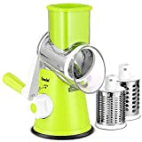 Geedel Rotray Chease Grater, Easy to Clean Vegetable Mandoline Slicer with 3 Drum Blades, High Efficiently Vegetable Spiralizer Cutter