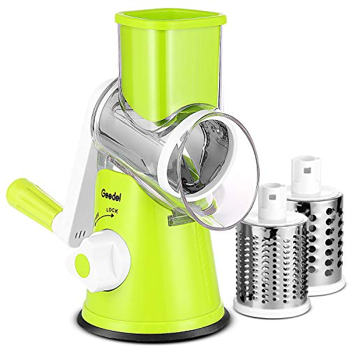 (Geedel Rotray Chease Grater, Easy to Clean Vegetable Mandoline Slicer with 3 Drum Blades, High Efficiently Vegetable Spiralizer Cutter)