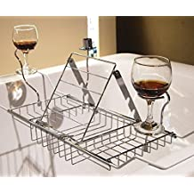 Basong Metal Expandable Bathtub Caddy Tray with Reading Rack and Wine Glass Holder(25-34)x3.3x7.9 Inches
