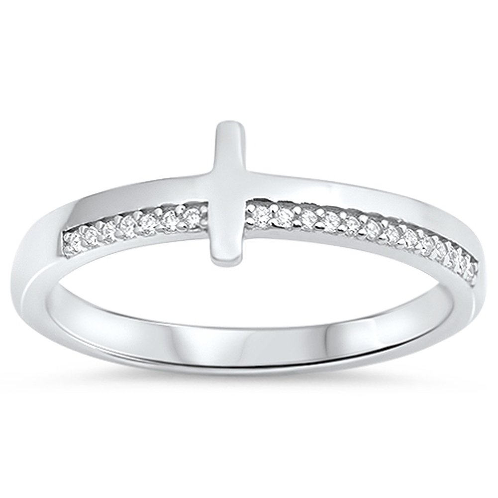 Clear CZ Sideways Cross Christian Love Ring .925 Sterling Silver Band Sizes 4-10 Sac Silver