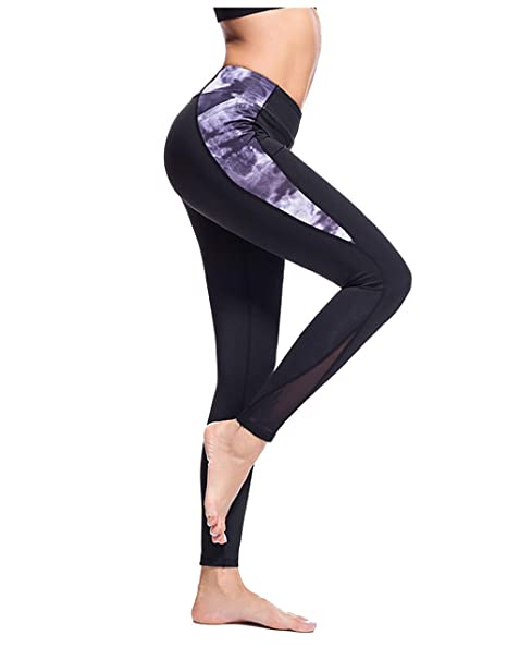 MEXUER Womens Leggings Yoga Pants with Out Pocket,Workout Running Pants for Women,4 Way Stretch Yoga Leggings