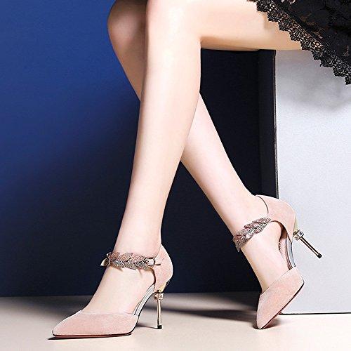 Sandals ZHIRONG Spring And Summer Super High Heel Thin Heel Hollow Hasp Women's Shoes (Size : EU39/UK6/CN39) m2LshL