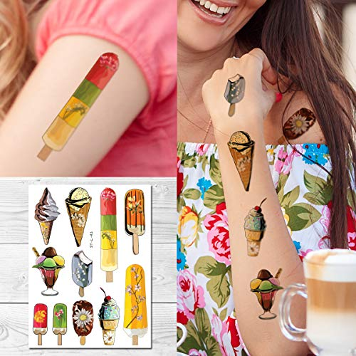 Supperb Temporary Tattoos - Watercolor Ice Cream Cone Popsicles Ice Pops dessert Food Kids Tattoo -