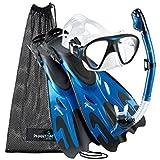 Phantom Aquatics Navigator Mask Fin Snorkel Set, Metal Blue, Small/Medium(5-8)