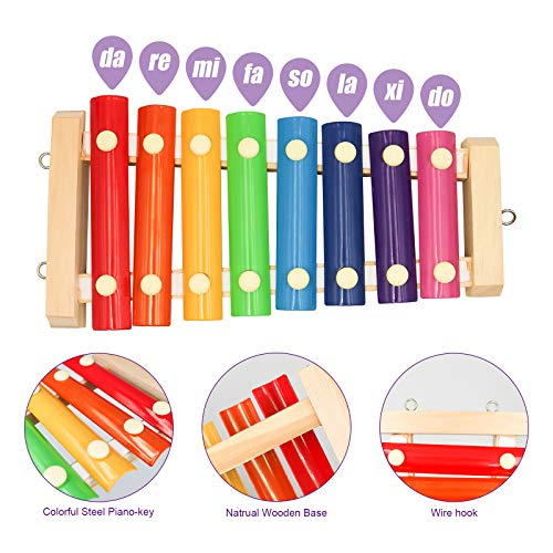 S-Mechanic Chicken Xylophone Toy for Hens,Parrots Hanging Wood Xylophone Toy with 8 Metal Keys Chicken Coop Pecking Toy with 3 Grinding Stones (Style-1)