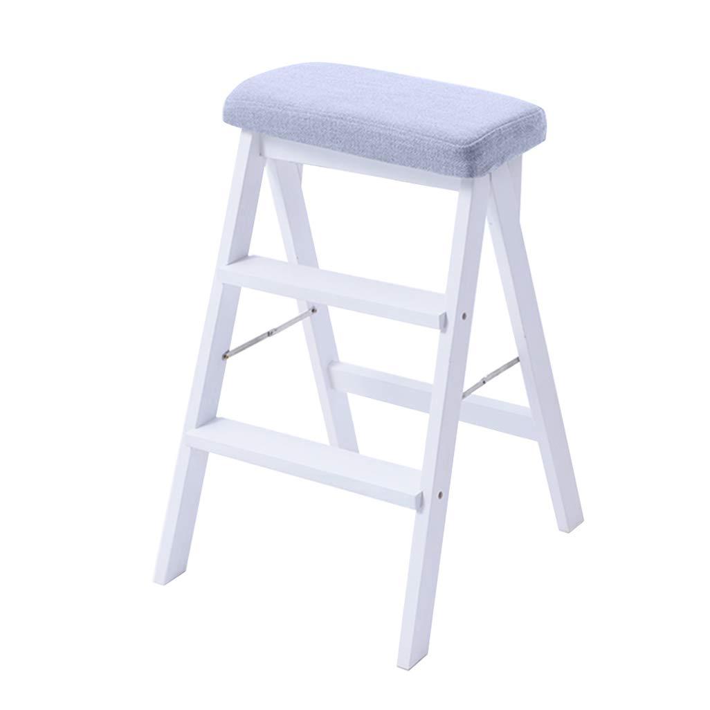 脚立3段/はしご椅子スツール、木製階段椅子青いスポンジシートダイニングチェア高スツールホームガーデンツールヘビーデューティマックス折りたたみ脚立。白で150kg B07MNK4BG3