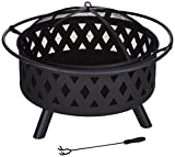 Pure Garden Fire Pit Set, Wood Burning Pit - Includes Screen, Cover and Log Poker - Great for Outdoor and Patio, 32 inch Round Crossweave Firepit