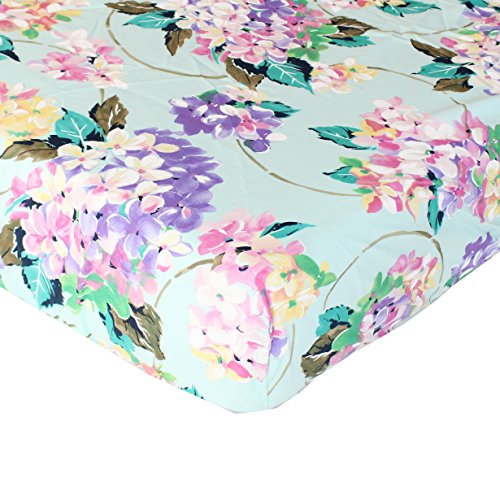 Cordelia Aqua Floral Fitted Crib Sheet - Fits Standard Crib Mattresses and Daybeds - Crib Toddler Daybed