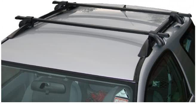 UNIVERSAL FIT FOR CARS WITH RAILS//RACK FITTED LOCKABLE BLACK CAR ROOF BARS