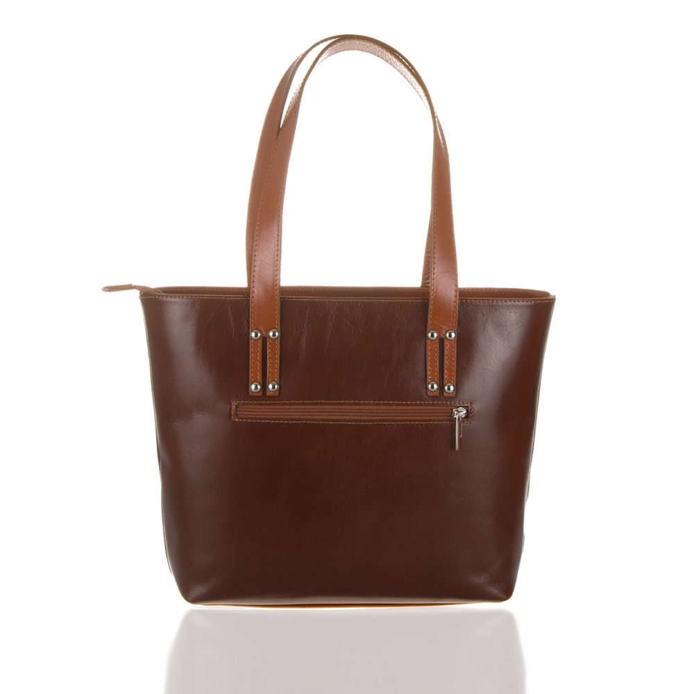 Brown 37 cm Acabado Tamponato Messenger Bag Marr/ón oscuro Firenze Artegiani Bolso Tote De Mujer Piel Aut/éntica