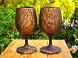 Set 2 Handmade Wooden Wine Glass Glasses (Palm Wood) Gift - A