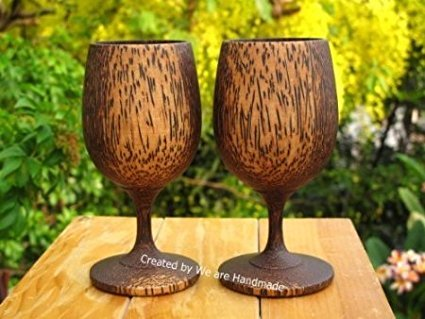 DDPremium Wooden Wine Glass Handmade, Set 2, 6 inches high. (Palm Wood) Gift, Brown by DDPremium