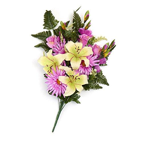 Lavender Poly Silk Mixed Lily, Gerbera Daisy and Gladiolus Half Bush | For Memorials -