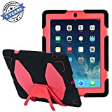 Travellor Ipad 2/3/4 Case Silicone Kid Proof Rainproof Sandproof Dust-Proof Shockproof Extreme Duty Dual Protective Back Cover with Kickstand and Sticker for Ipad 4/3/2 (Black/Red)