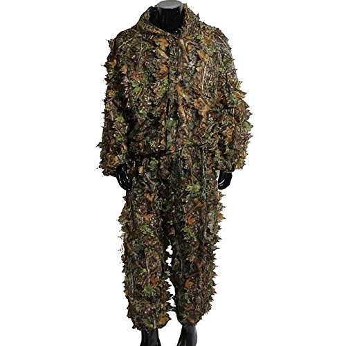 Uheng 3D Woodland Leafy Camo Suit, Hooded Ghillie Leaf Suit Sets for Outdoor Jungle Forest Hunting Army Tactical Camouflage Wildlife Photography ()