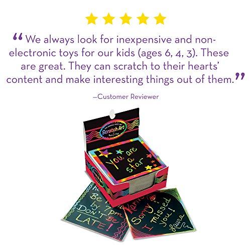 "519BVm74rdL - Melissa & Doug Scratch Art Box of Rainbow Mini Notes, Arts & Crafts, Wooden Stylus, 125 Count, 3.75"" H x 3.75"" W x 1.75"" L"