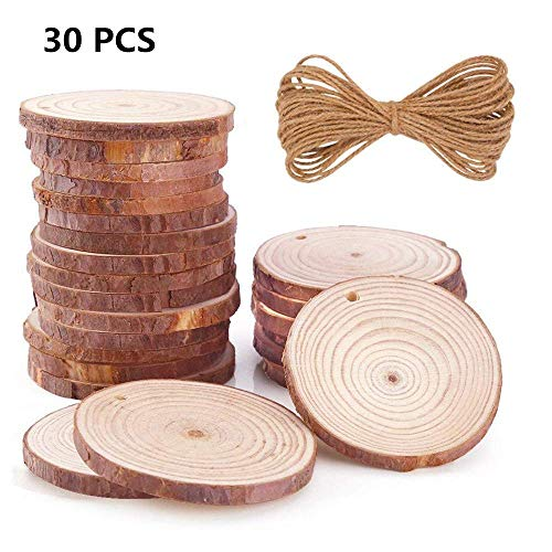 Natural Wood Slices 30Pcs 3.0-3.5 inch Round Circles Unfinished Predrilled Tree Bark Log Discs with Holes for DIY Crafts Rustic Wedding Decoration Vintage Wedding (30pcs ()