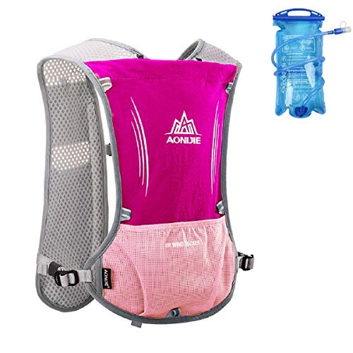 Azarxis Hydration Vests for Running Women Men Race Running Vest Hydration Trail Running Water Vest Marathon Backpack Ultra Pack 5L for Cycling Runner (Rose Red - with a Water Bladder (1.5L)) (Best Ultra Race Vest)
