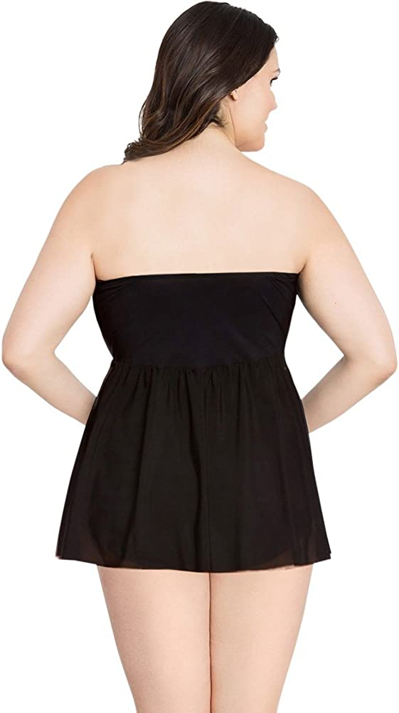 Profile by Gottex Tutti Frutti Black Plus Size Flyaway Bandeau One Piece Swimsuit Size 20W